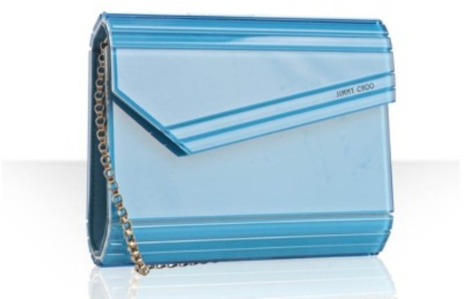 Jimmy Choo petrol mirror 'Candy' clutch with chain strap