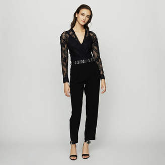 Maje Jumpsuit in crepe and lace