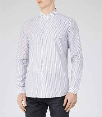 Reiss Gudetti Stripe Grandad Collar Shirt