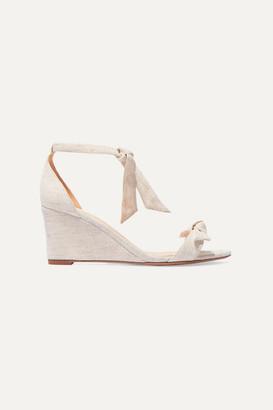 Alexandre Birman Clarita Bow-embellished Canvas Espadrille Wedge Sandals - Beige