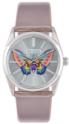 Zadig & Voltaire Women's Quartz Butterfly Leather Strap Watch, 36mm