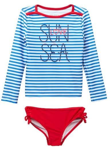 Nautica Striped Rashguard & Bottom Set (Little Girls)