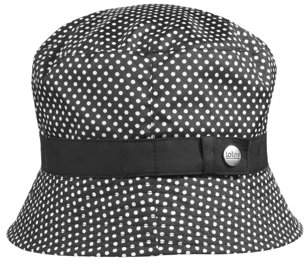 totes Women's Bucket Rain Hat with Band and Embossed Snap, Bucket Style, Pin Dot