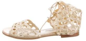 Brian Atwood Laser-Cut Flat Sandals