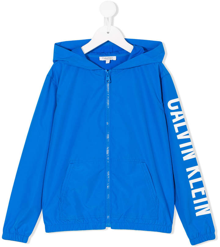 Calvin Klein Kids logo print zipped jacket
