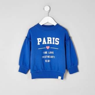River Island Mini girls Blue 'Paris' frill sweatshirt