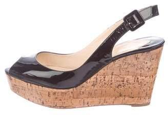 Christian Louboutin Patent Leather Peep-Toe Wedges