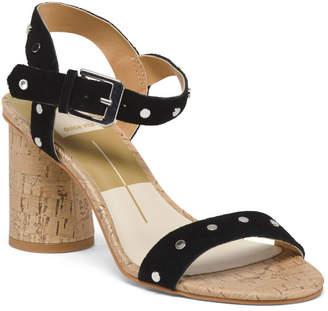 Studded Ankle Strap Cork Heel Suede Sandals