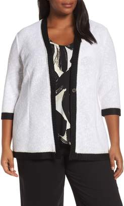 Nic+Zoe Tipped Single Button Cotton Blend Cardigan