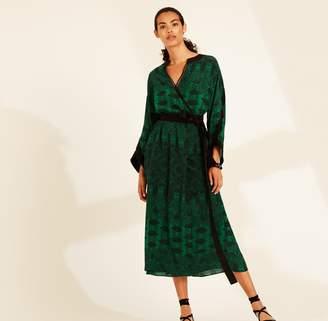 Amanda Wakeley Emerald Printed Paisley Wrap Dress