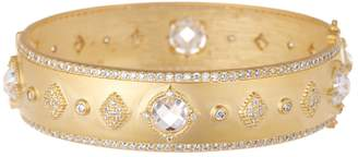 Freida Rothman 14k Gold Plated Sterling Silver Mirror Stone CZ Station Wide Hinge Bangle