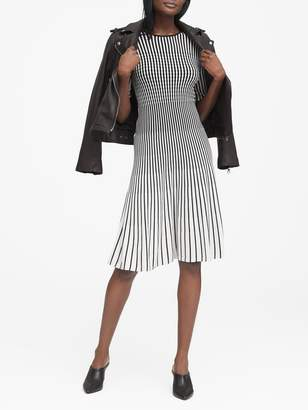 Banana Republic Stripe Fit-and-Flare Sweater Dress