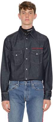 Calvin Klein Jeans Logo Embroidered Western Denim Shirt
