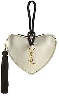 Saint Laurent Women's Coeur Monogram Metallic Leather Clutch