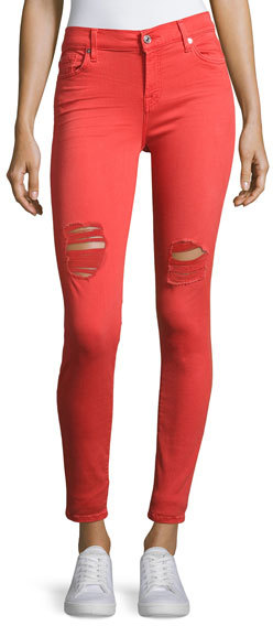7 For All Mankind7 For All Mankind The Ankle Distressed Skinny Jeans, Red