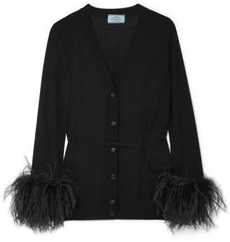 Prada Feather-trimmed Cardigan - Black