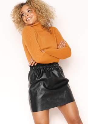 8d4940caa2 Missy Empire Missyempire Liz Black Faux Leather Paperbag Mini Skirt