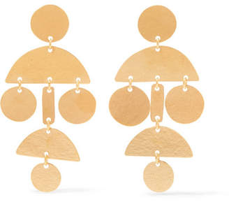 Annie Costello Brown - Mini Pompom Gold-tone Earrings