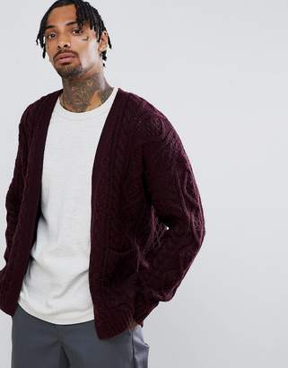 Asos DESIGN heavyweight cable knit cardigan in burgundy