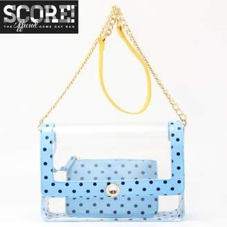 clear PU Cross Body Shoulder Bag for Game Day Chrissy Lite Blue, Navy Blue & Yellow Gold by SCORE! The Official Game Day Bag Two Piece Set