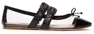 Miu Miu Buckle Fastening Plexi And Leather Ballet Flats - Womens - Black