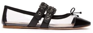 Miu Miu Buckle Fastening Plexi And Leather Ballet Flats - Womens - Black