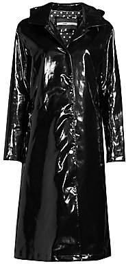 Jane Post Women's High Shine Slicker Long Coat