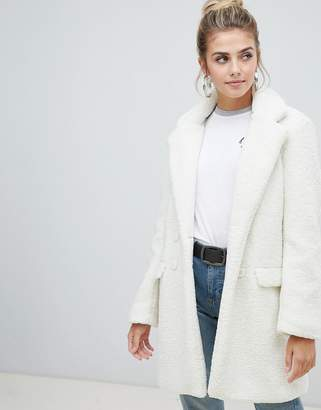 Brave Soul kira tailored coat in borg