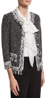 St. John Collection Nita Fringe Tweed 3/4-Sleeve Jacket, Black/White $1,595 thestylecure.com