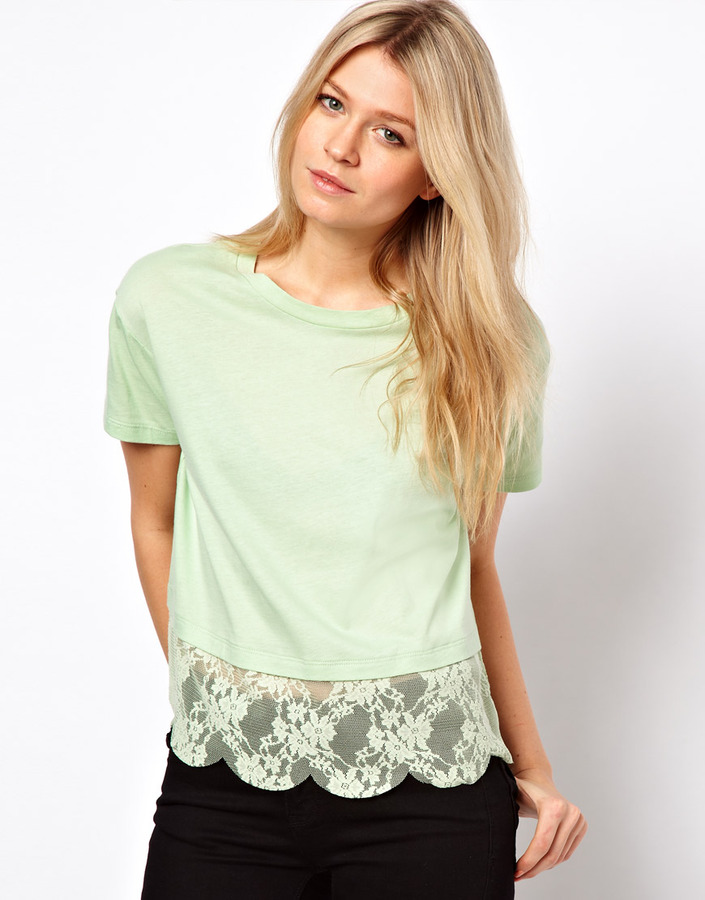ASOS T-Shirt With Lace Scallop