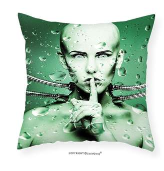 Hunter UncleQiang Custom pillowcases Futuristic Decor Robot Girl with Metal Cables In a Glass Underwater for Bedroom Living Room Dorm Green and Pistachio Green