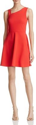 AQUA Asymmetric-Neck Fit-and-Flare Dress - 100% Exclusive $78 thestylecure.com