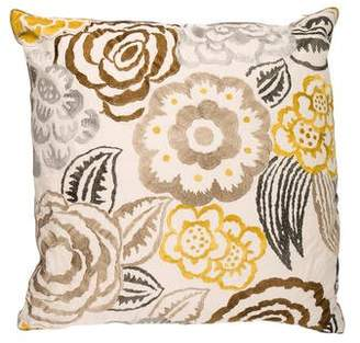 Dransfield and Ross Floral Embroidered Throw Pillow