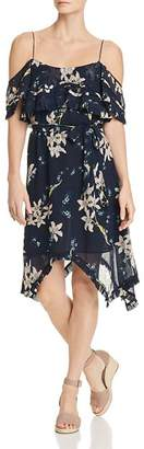 Paige Sahar Cold-Shoulder Floral Silk Dress