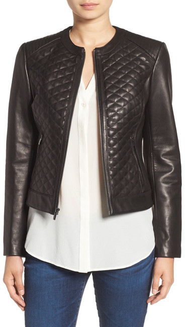 Cole Haan Cole Haan Quilted Genuine Lamb Leather Moto Jacket