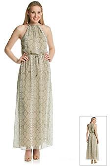 Vince Camuto Python Printed Blouson Maxi Dress
