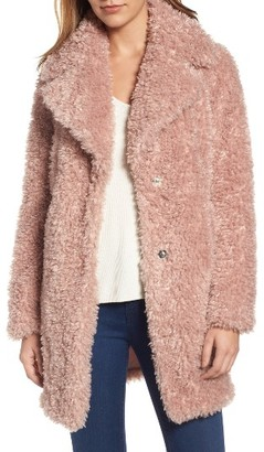 Women's Kensie 'Teddy Bear' Notch Collar Faux Fur Coat $198 thestylecure.com