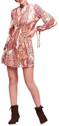 Free People Printed Fit--Flare Mini Dress