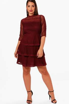 boohoo Plus Frill Lace Detail Skater Dress