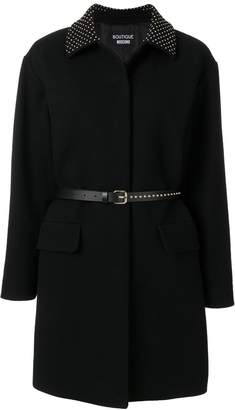Moschino studded collar belted coat