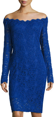 Marina Long-Sleeve Off-the-Shoulder Lace Dress, Royal $99 thestylecure.com