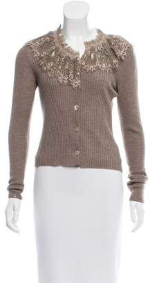 Jean Paul Gaultier Lace-Accented Wool Cardigan w/ Tags $175 thestylecure.com
