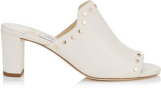 Jimmy Choo MYLA 65 White Nappa Leather Mules with Gold Studs