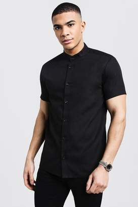 boohoo Black Slim Fit Short Sleeve Grandad Collar Shirt