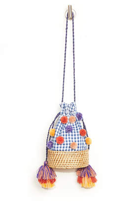 Cleobella Elloise Gingham Pom Straw Bucket Bag