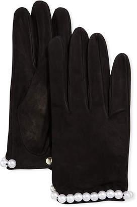 Portolano Suede Gloves w/ Pearly Trim