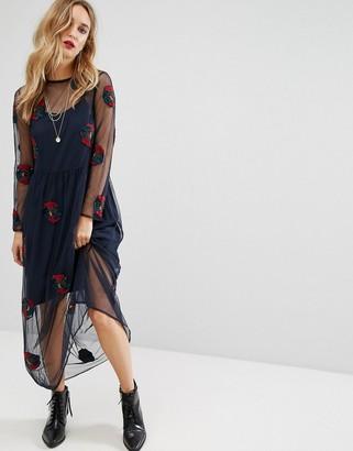 Mango Embroidered Mesh Overlay Midi Dress $106 thestylecure.com