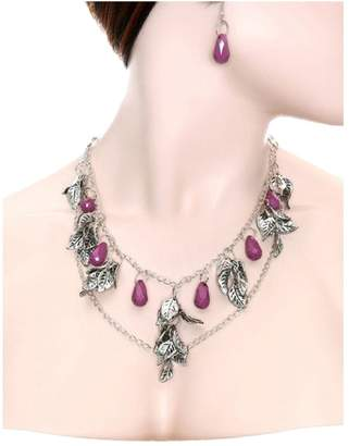 Ava Adorn Petra Leaves and Gemstone Necklace and Earring Set