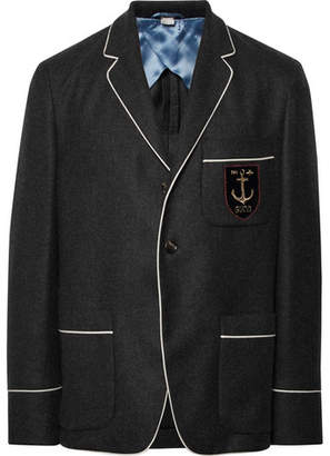 Gucci Dark-Grey Slim-Fit Embroidered Cashmere Blazer - Dark gray
