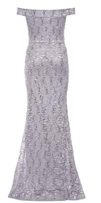 Quiz Silver Grey Sequin Bardot Fishtail Dress